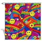 Hippie Smiley Rainbow Pattern Shower Curtain
