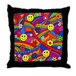 Hippie Smiley Rainbow Pattern Throw Pillow