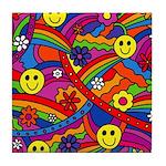Hippie Smiley Rainbow Pattern Tile Coaster