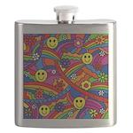 Hippie Smiley Rainbow Pattern Flask