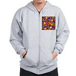 Hippie Smiley Rainbow Pattern Zip Hoodie