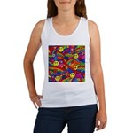 Hippie Smiley Rainbow Pattern Women's Tank Top