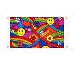 Hippie Smiley Rainbow Pattern Banner