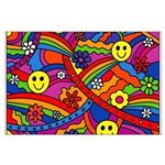 Hippie Smiley Rainbow Pattern Large Poster
