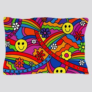 Hippie Smiley Rainbow Pattern Pillow Case