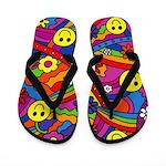 Hippie Smiley Rainbow Pattern Flip Flops