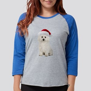 Bichon Frise Christmas Womens Baseball Tee