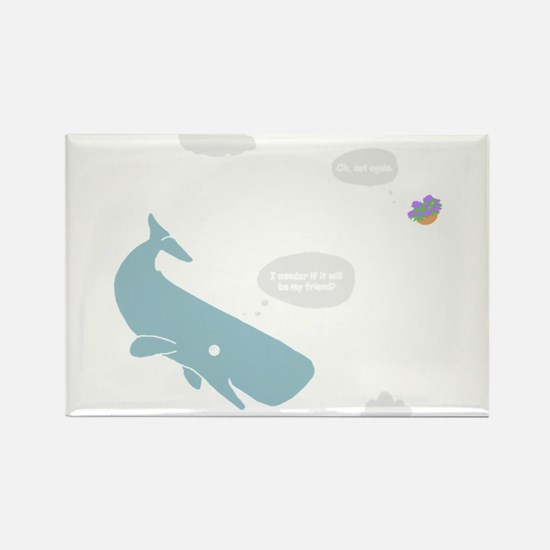 Hitchhiker Whale & Petunia Rectangle Magnet