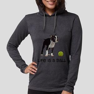 Boston Terrier Life Womens Hooded Shirt