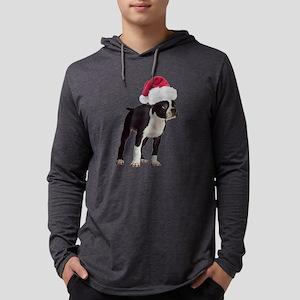 Boston Terrier Santa Mens Hooded Shirt