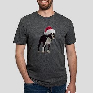 Boston Terrier Santa Mens Tri-blend T-Shirt