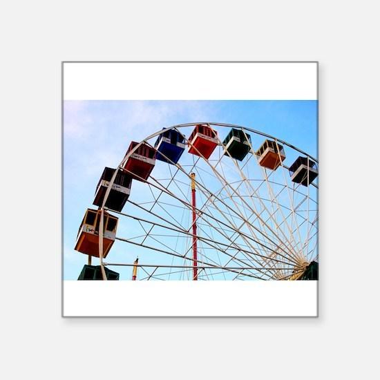 "Seaside Big Wheel Square Sticker 3"" x 3"""