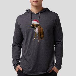 Santa Boxer Christmas Mens Hooded Shirt