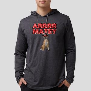 Pirate Boxer Dog Mens Hooded Shirt