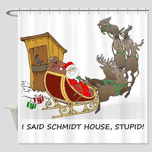 Schmidt House Cartoon Christmas Shower Curtain