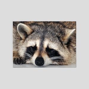 Raccoon Sleeping 5'x7'Area Rug