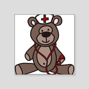 "Nurse Teddy Bear Square Sticker 3"" x 3"""