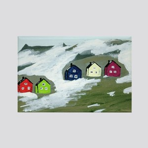 Colorful Winter Houses Rectangle Magnet