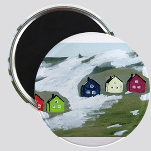Colorful Winter Houses Magnet