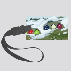 Colorful Winter Houses Large Luggage Tag