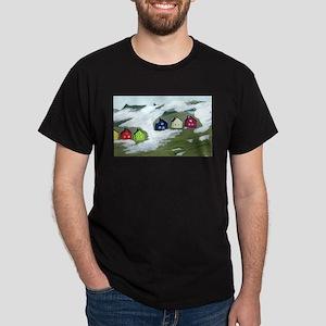 Colorful Winter Houses Dark T-Shirt