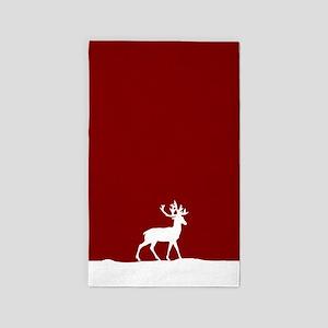 Deer in the snow 3'x5' Area Rug