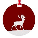 Deer in the snow Round Ornament