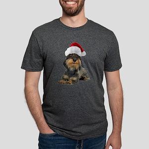 FIN-wirehaired-dachshund-santa-CROP Mens Tri-b
