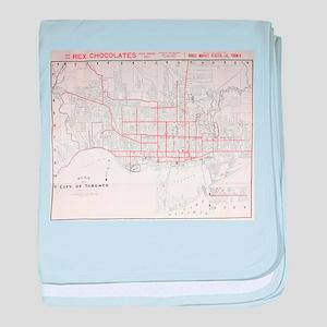 Vintage Toronto Streetcar Map (1912) baby blanket