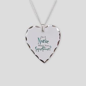 Super Nurse Necklace Heart Charm
