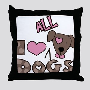 I Love All Dogs Throw Pillow