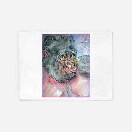 Gorilla! Wildlife art! 5'x7'Area Rug
