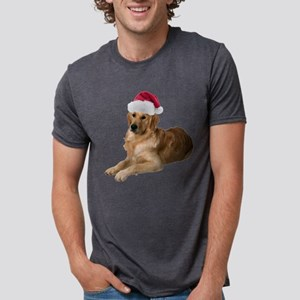 FIN-santa-golden-retriever Mens Tri-blend T-Sh