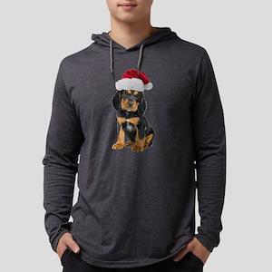 Gordon Setter Santa Mens Hooded Shirt