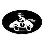 Kokopelli Race Car Driver Oval Sticker
