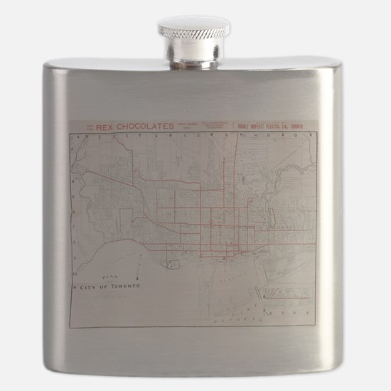 Vintage Toronto Streetcar Map (1912) Flask
