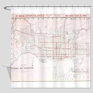 Vintage Toronto Streetcar Map (1912 Shower Curtain
