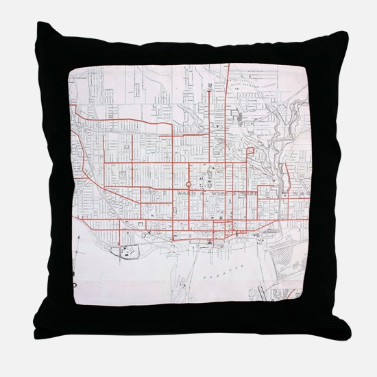 Vintage Toronto Streetcar Map (1912) Throw Pillow