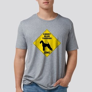 Kerry Blue Terrier Crossing Sign Mens Tri-blend T-
