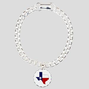 Texas Flag on Texas Outline Charm Bracelet, One Ch