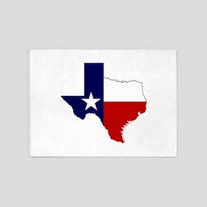 Texas Flag on Texas Outline 5'x7'Area Rug