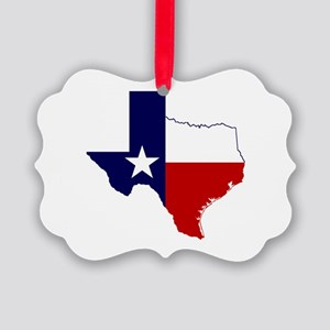 Texas Flag on Texas Outline Picture Ornament