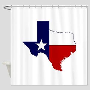 Texas Flag On Texas Outline Shower Curtain