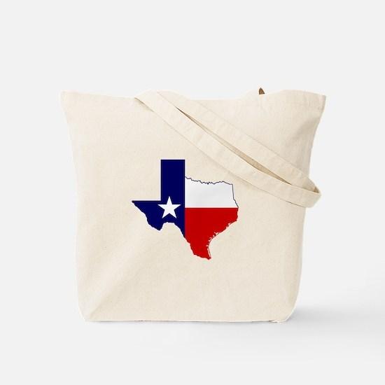 Texas Flag on Texas Outline Tote Bag