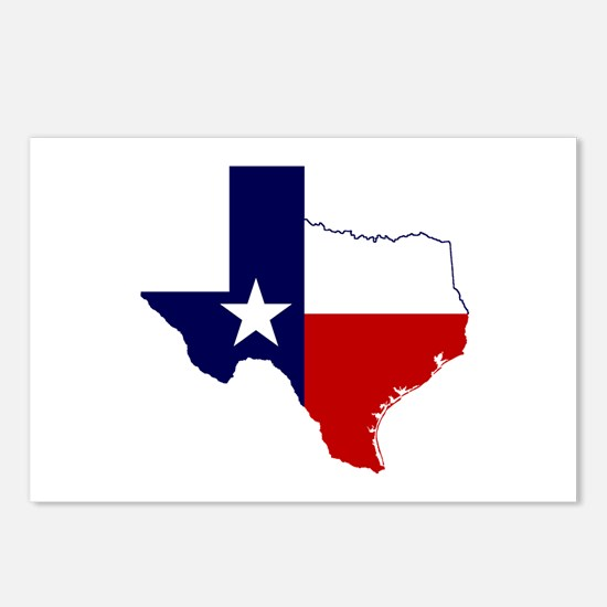 Texas Flag on Texas Outline Postcards (Package of