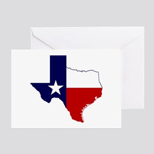 Texas Flag on Texas Outline Greeting Card