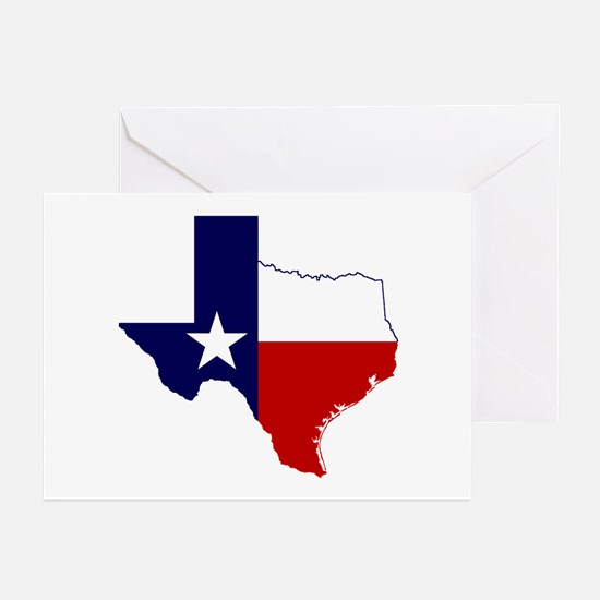 Texas Flag on Texas Outline Greeting Cards (Pk of