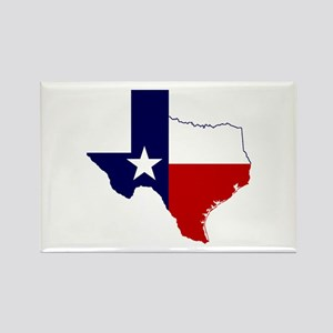 Texas Flag on Texas Outline Rectangle Magnet