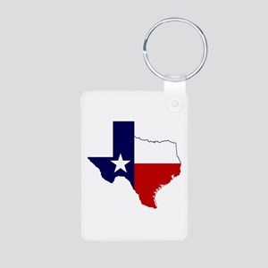 Texas Flag on Texas Outline Aluminum Photo Keychai