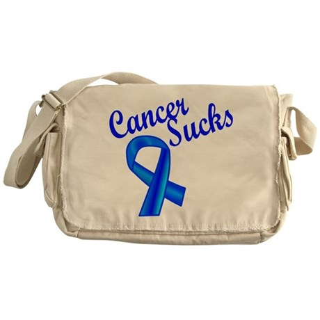 Cancer Sucks Blue Ribbon Messenger Bag